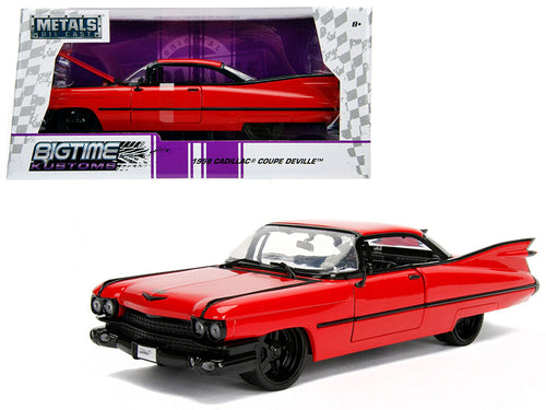 1959 Cadillac Coupe DeVille Red 1/24 Diecast Model Car by Jada | Allshop.store