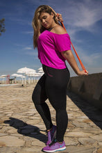 Load image into Gallery viewer, Black With Pink Pocket Leggings