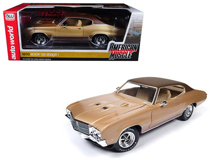 1970 Buick Skylark GS Gold Hemmings Muscle Machines Limited Edition to 1002pc 1/18 Diecast Model Car by Autoworld | Allshop.store