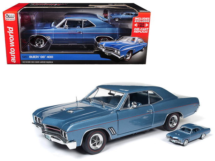1967 Buick GS Hardtop Sapphire Blue and 1/64 Scale 1967 Buick GS Hardtop Sapphire Blue 2 Cars Set Limited Edition to 1002pc 1/18 Diecast Model Car by Autoworld | Allshop.store