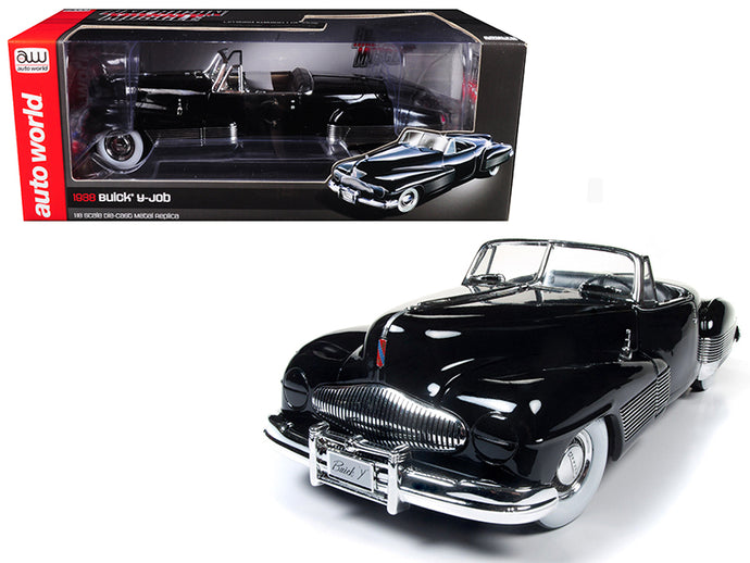 1938 Buick Y-Job Black Limited Edition to 1002pc 1/18 Diecast Model Car by Autoworld | Allshop.store