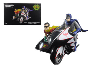 1966 Batcycle Elite Edition and Side Car with Batman and Robin Figures 1/12 Diecast Model by Hotwheels | Allshop.store