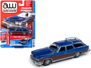1974 Buick Estate Wagon Mediterranean Blue Metallic with Woodgrain Sides