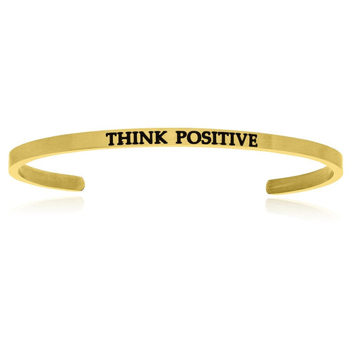 Yellow Stainless Steel Think Positive Cuff Bracelet - Allshop.store