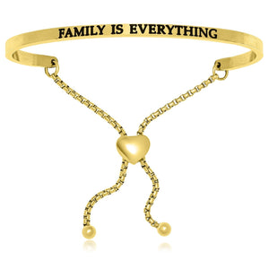 Yellow Stainless Steel Family Is Everything Adjustable Bracelet - Allshop.store