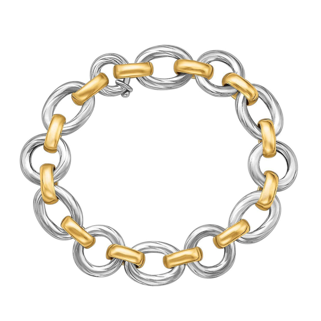 18k Yellow Gold and Sterling Silver Diamond Cut Rhodium Plated Bracelet - Allshop.store