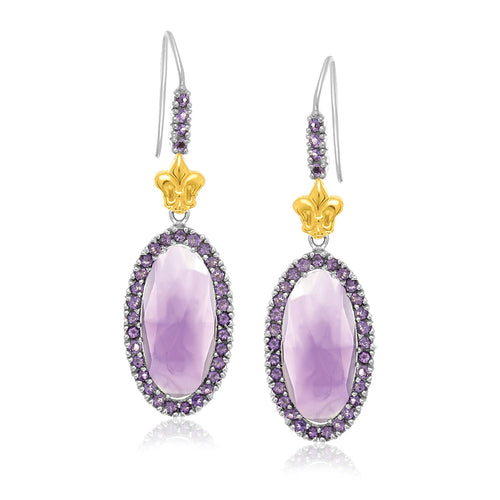 18k Yellow Gold & Sterling Silver Oval Amethyst Fleur De Lis Earrings - Allshop.store