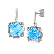 Load image into Gallery viewer, Sterling Silver Sky Blue Topaz and White Sapphires Fleur De Lis Drop Earrings - Allshop.store