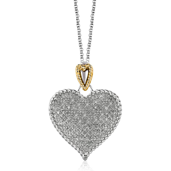 Designer Sterling Silver and 14k Yellow Gold Heart Shape Pave Diamond Pendant - Allshop.store