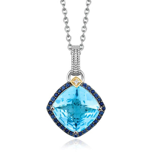 18k Yellow Gold and Sterling Silver Cushion Multi Gemstone and Diamond Pendant - Allshop.store