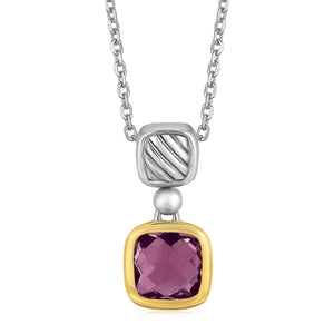 18k Yellow Gold and Sterling Silver Necklace with an Amethyst Pendant - Allshop.store