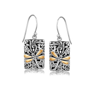 18k Yellow Gold and Sterling Silver Dragonfly Designed Rectangular Drop Earrings - Allshop.store