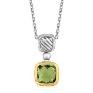 18k Yellow Gold and Sterling Silver Necklace with Cushion Green Amethyst Pendant - Allshop.store
