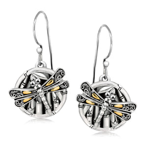18k Yellow Gold and Sterling Silver Branch and Dragonfly Design Earrings - Allshop.store