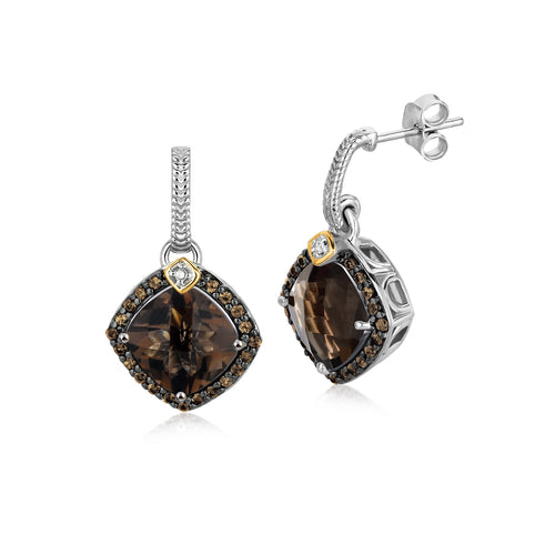 18k Yellow Gold and Sterling Silver Smokey Quartz and Coffee Diamond Earrings - Allshop.store