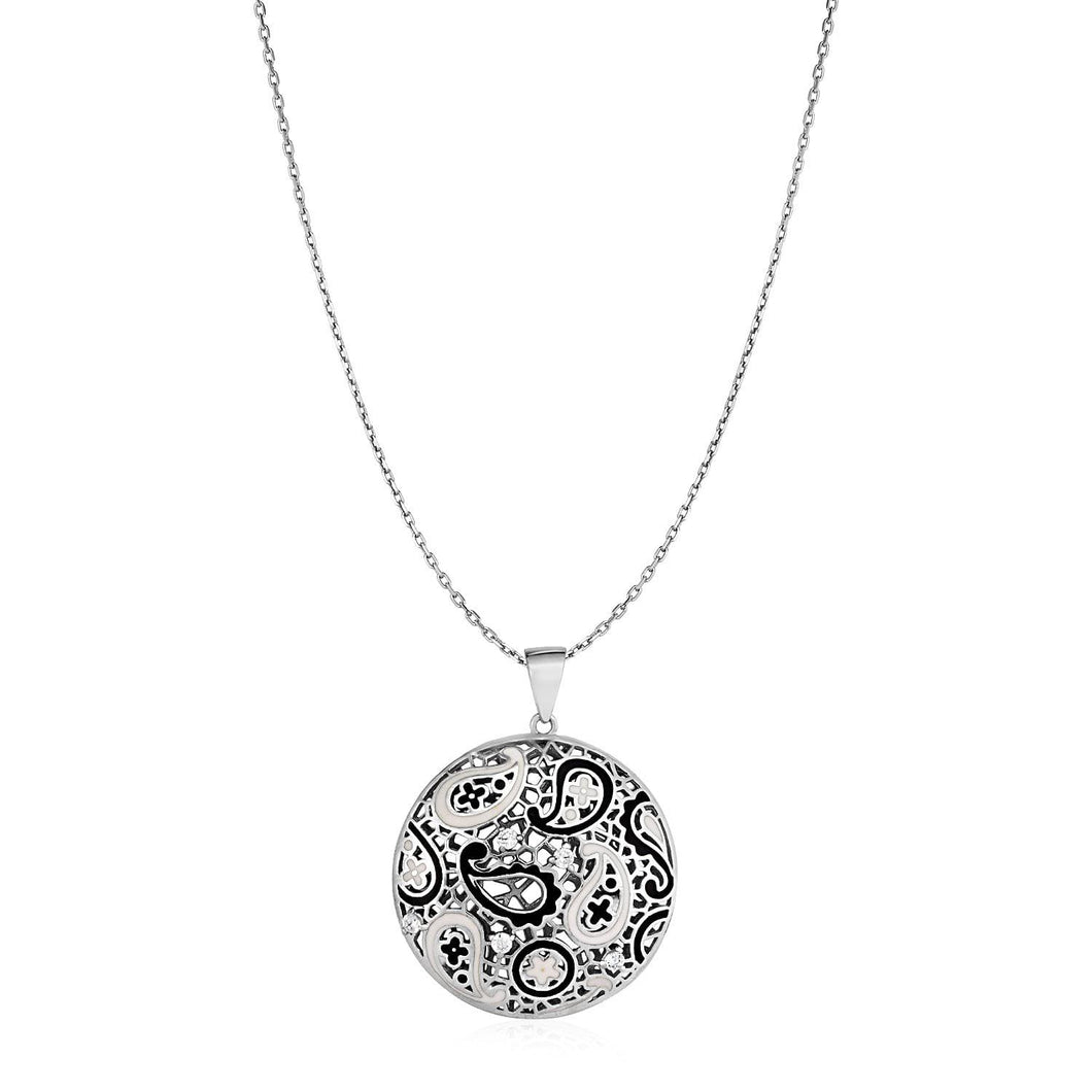 Paisley Mosaic Pendant with Enamel and Cubic Zirconia in Sterling Silver - Allshop.store