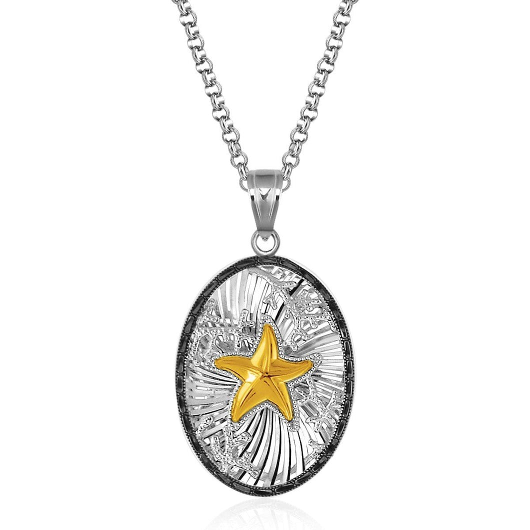 Sterling Silver and 14k Yellow Gold Starfish Pendant with Black Crystal Edging - Allshop.store