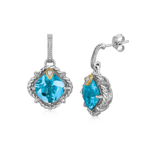 18k Yellow Gold and Sterling Silver Blue Topaz and Diamond Accent Drop Earrings - Allshop.store