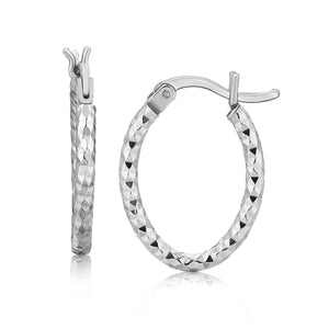 Sterling Silver Rhodium Plated Small Oval Hoop Diamond Cut Textured Earrings - Allshop.store