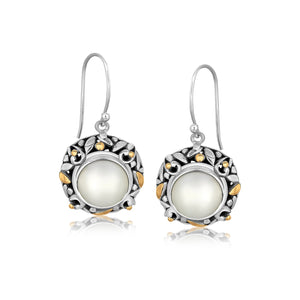 18k Yellow Gold and Sterling Silver Pearl Drop Earrings with Leaf Ornaments - Allshop.store
