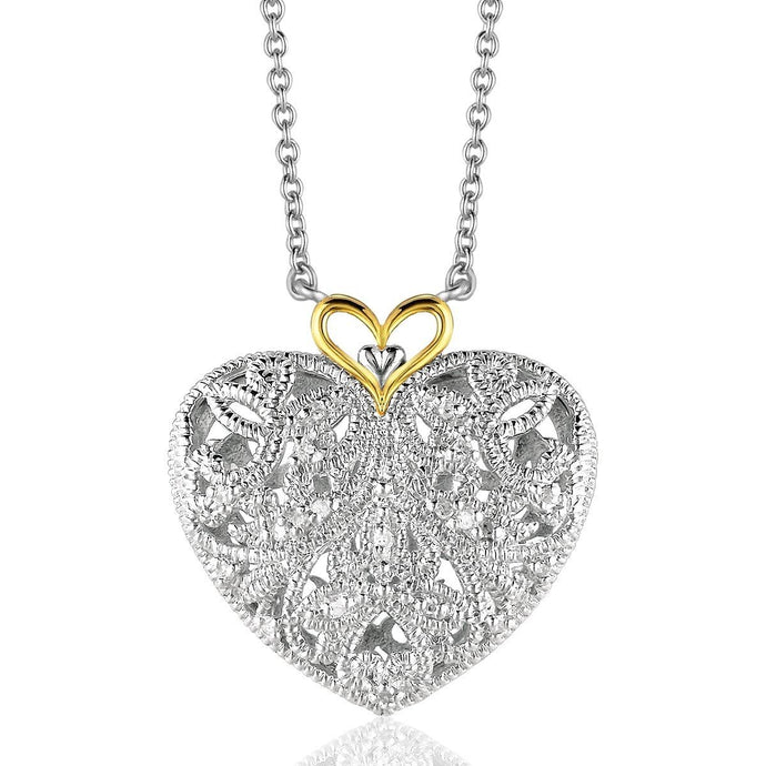 Sterling Silver and 14k Yellow Gold Filigree Heart Pendant with Diamond Accent - Allshop.store