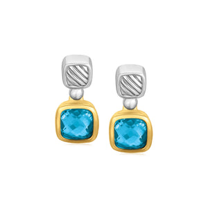 18k Yellow Gold and Sterling Silver Drop Earrings with Bezel Set Blue Topaz - Allshop.store