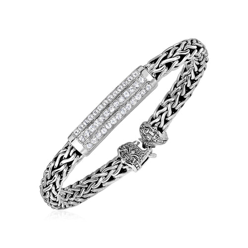 Wide Woven Rope Bracelet with White Sapphire Accents in Sterling Silver - Allshop.store