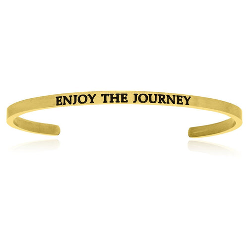 Yellow Stainless Steel Enjoy The Journey Cuff Bracelet - Allshop.store