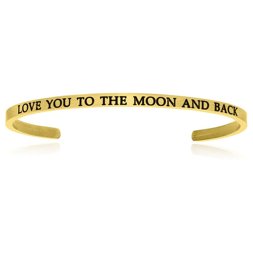 Yellow Stainless Steel Love You To The Moon And Back Cuff Bracelet - Allshop.store
