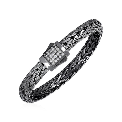 Wide Woven Bracelet with White Sapphires and Black Finish in Sterling Silver - Allshop.store