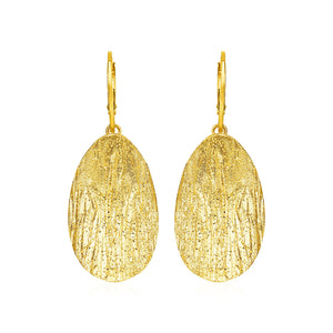 Textured Oval Earrings with Yellow Finish in Sterling Silver - Allshop.store
