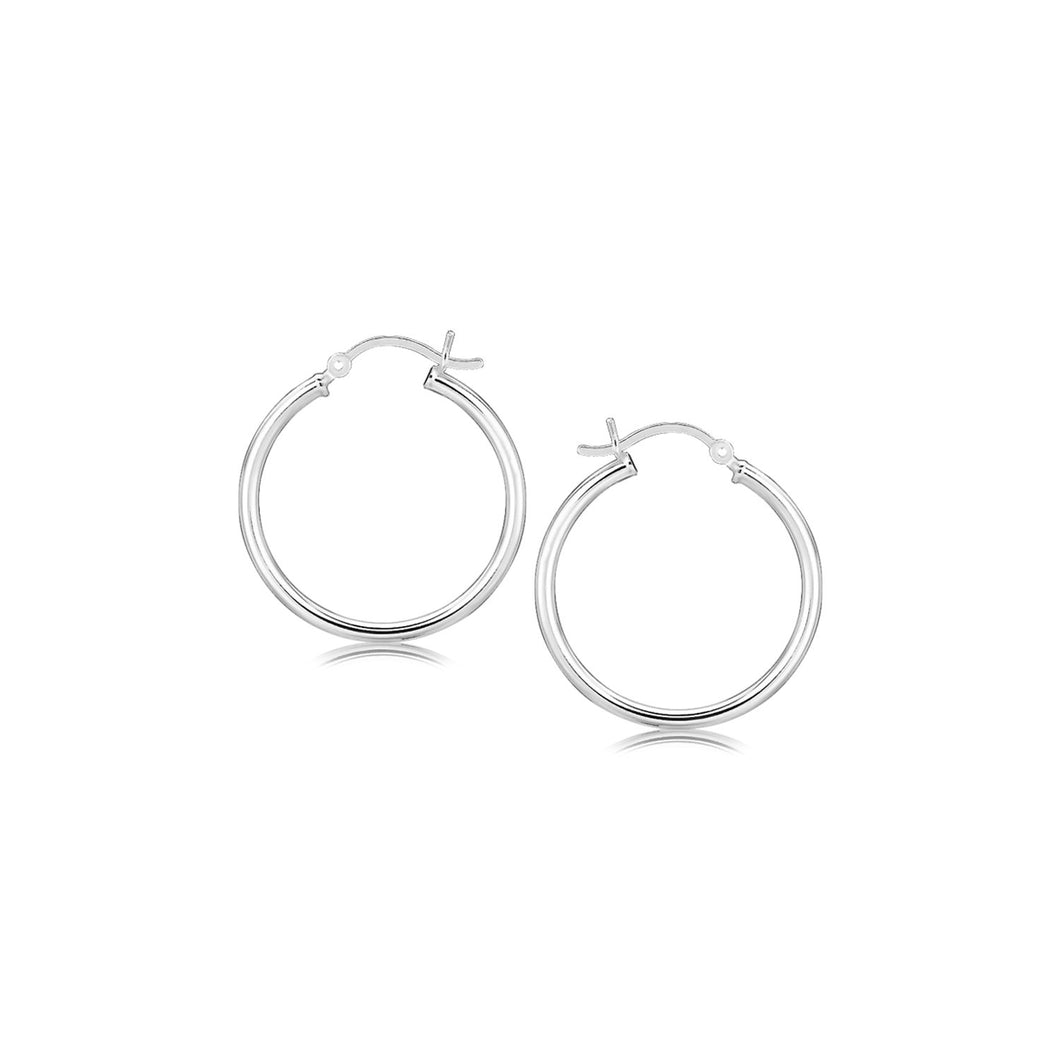 Sterling Silver Rhodium Plated Thin and Polished Hoop Motif Earrings (25mm) - Allshop.store
