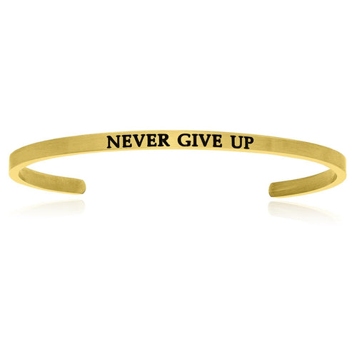 Yellow Stainless Steel Never Give Up Cuff Bracelet - Allshop.store