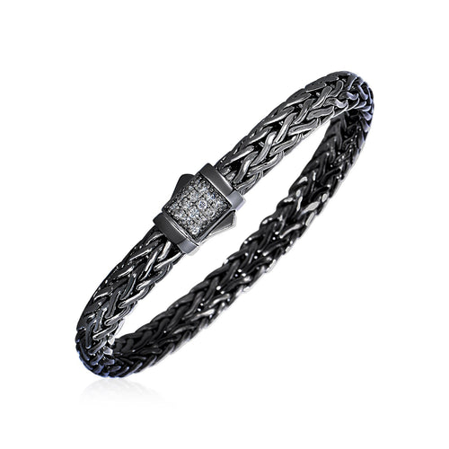 Woven Rope Bracelet with White Sapphire and Black Finish in Sterling Silver - Allshop.store