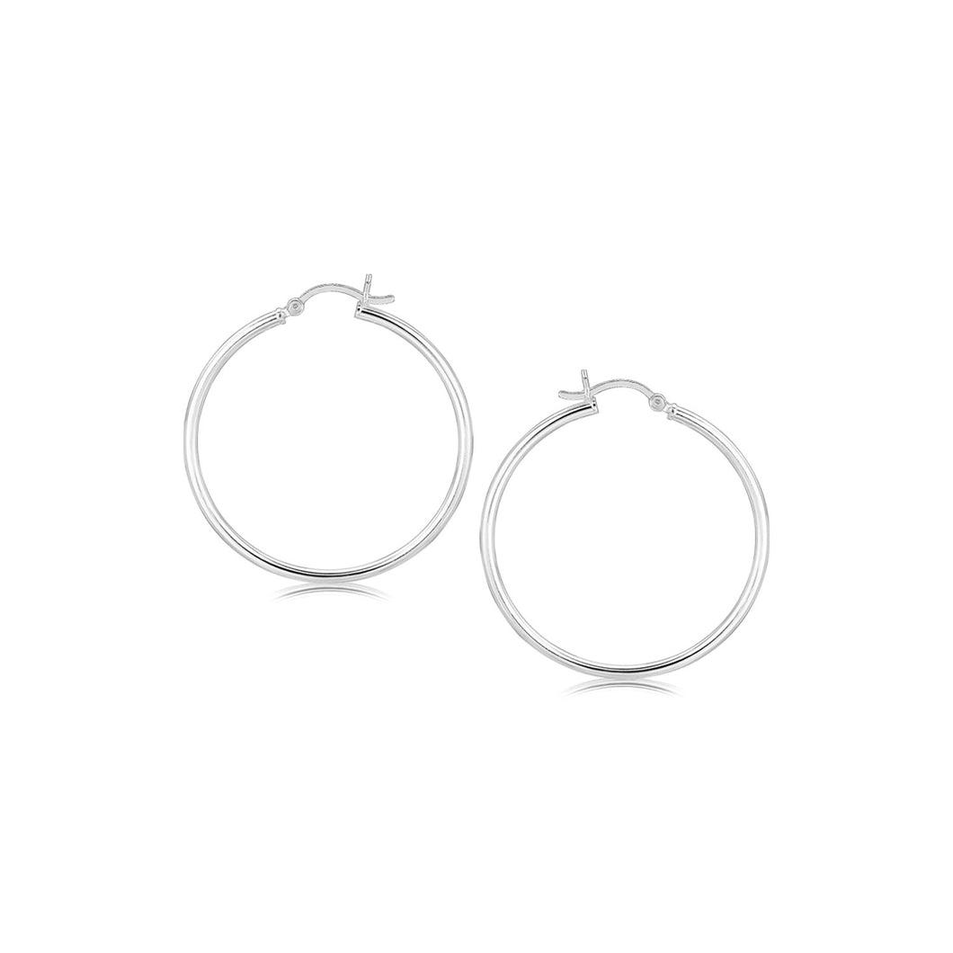 Sterling Silver Rhodium Plated Thin and Polished Hoop Style Earrings (35mm) - Allshop.store