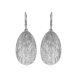 Textured Oval Earrings with White Finish in Sterling Silver - Allshop.store
