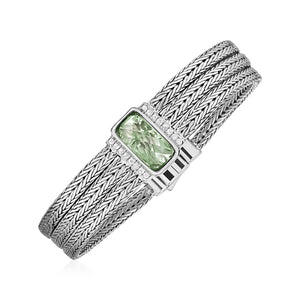 Three Strand Bracelet with Green Amethyst and White Sapphires in Sterling Silver - Allshop.store