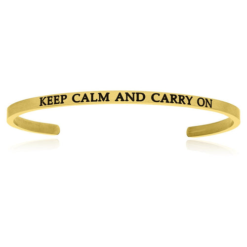 Yellow Stainless Steel Keep Calm And Carry On Cuff Bracelet - Allshop.store