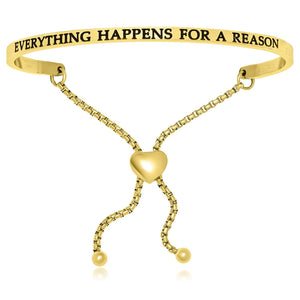 Yellow Stainless Steel Everything Happens For A Reason Adjustable Bracelet - Allshop.store