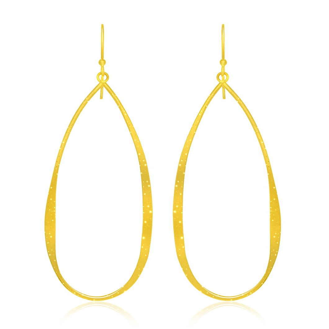Sterling Silver Teardrop Shape Yellow Tone Stardust Dangling Earrings - Allshop.store