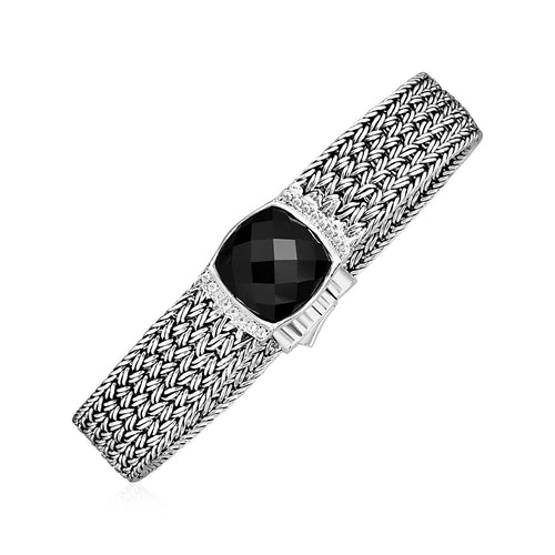Wide Woven Bracelet with Black Onyx and White Sapphires in Sterling Silver - Allshop.store