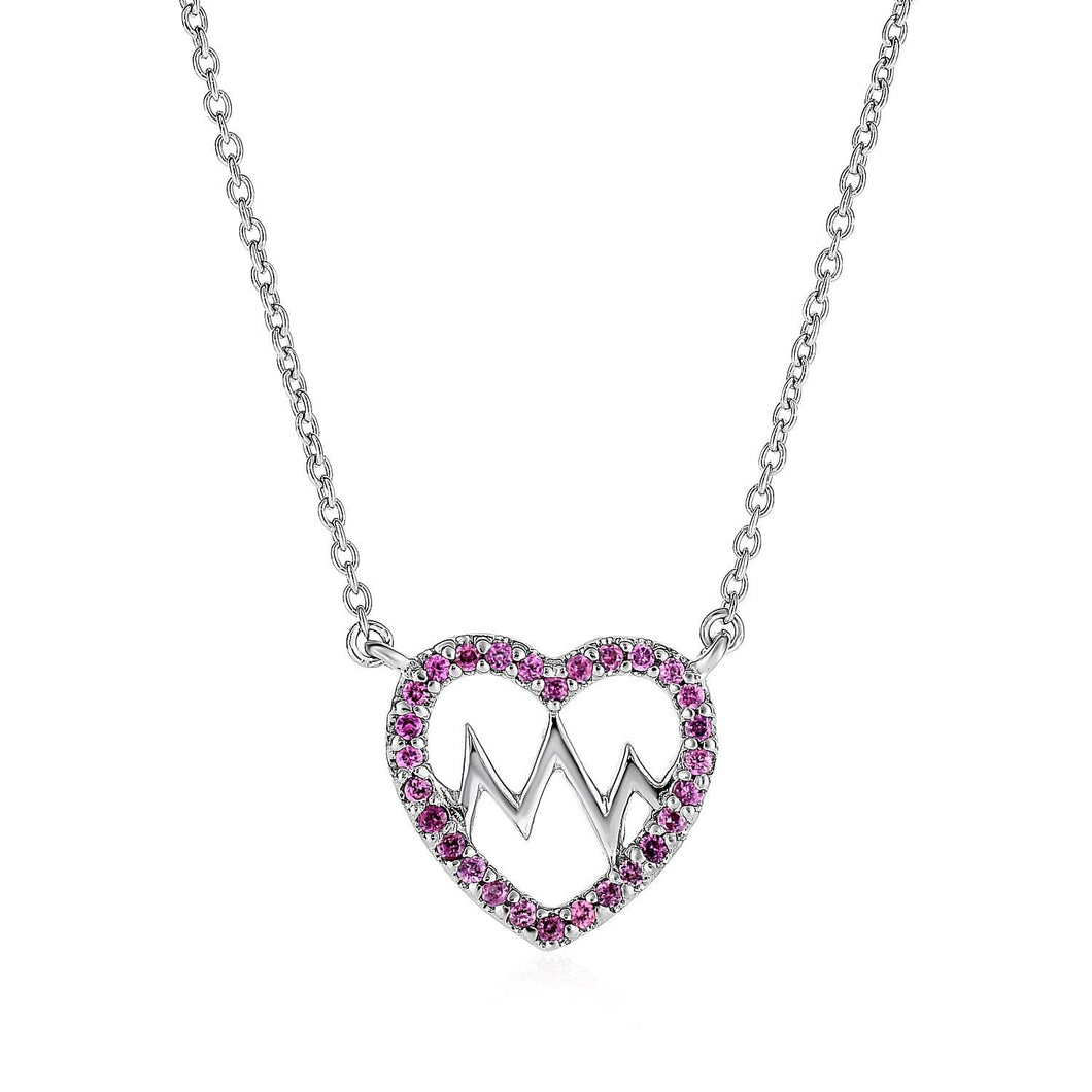 Sterling Silver Double Heart Pendant with Garnets - Allshop.store