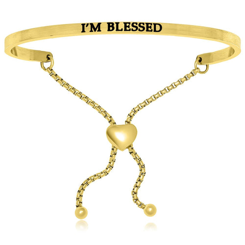 Yellow Stainless Steel I'm Blessed Adjustable Bracelet - Allshop.store