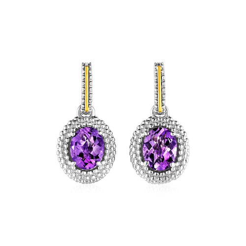 Oval Amethyst Earrings in 18k Yellow Gold & Sterling Silver - Allshop.store