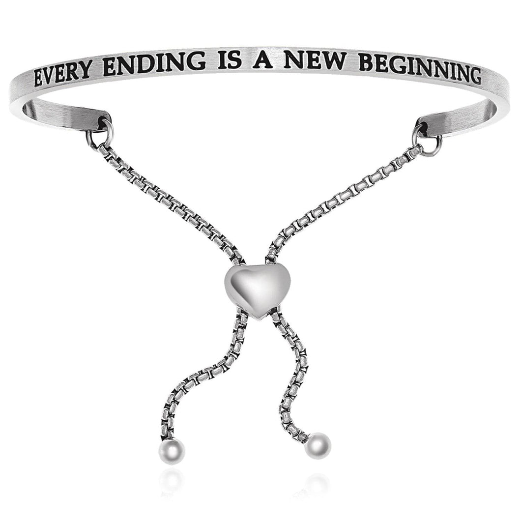 Stainless Steel Every Ending Is A New Beginning Adjustable Bracelet - Allshop.store
