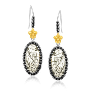 18k Yellow Gold & Sterling Silver Rutilated Quartz Fleur De Lis Drop Earrings - Allshop.store