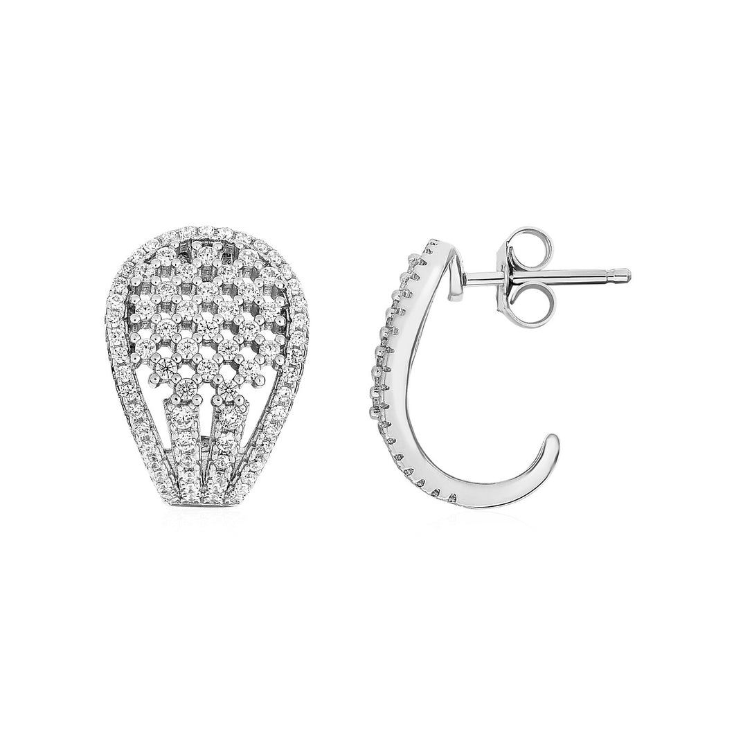 Tapered Oval Earrings with Cubic Zirconia in Sterling Silver - Allshop.store
