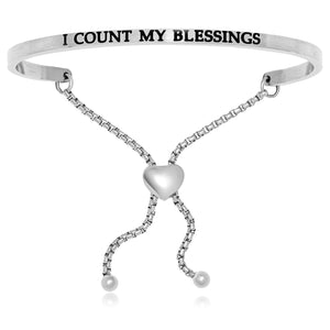 Stainless Steel I Count My Blessings Adjustable Bracelet - Allshop.store
