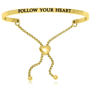 Yellow Stainless Steel Follow Your Heart Adjustable Bracelet - Allshop.store