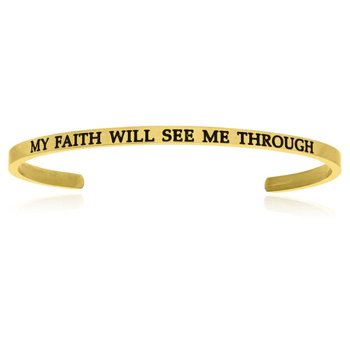 Yellow Stainless Steel My Faith Will See Me Through Cuff Bracelet - Allshop.store
